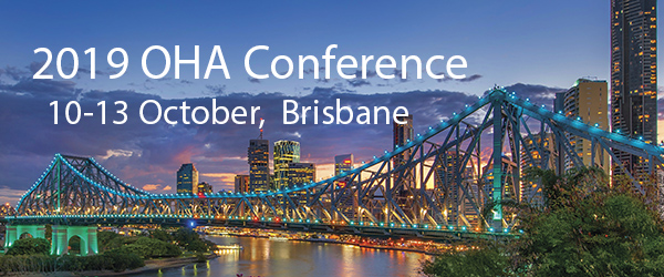Image of Brisbane with text promoting the OHA biennial conference